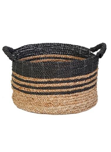 Kanca Ev Mendong Hasır, Siyah-Natürel Örme Sepet, Orta Siyah